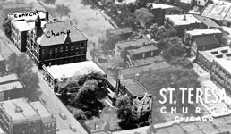 St Teresa of Avila Parish Chicago historic aerial shot