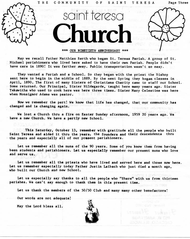 1979 90th anniversary newsletter for St Teresa Parish Chicago