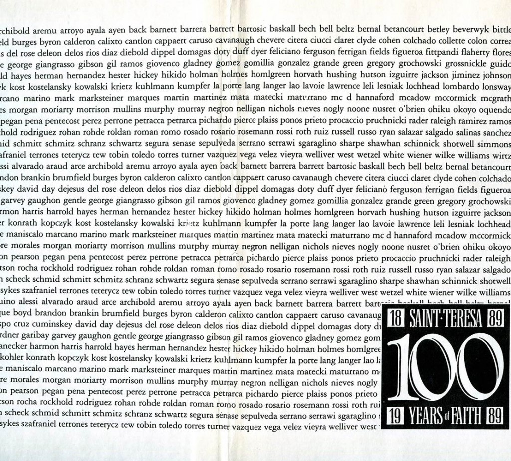 1989 100th Anniversary book for St Teresa Parish Chicago