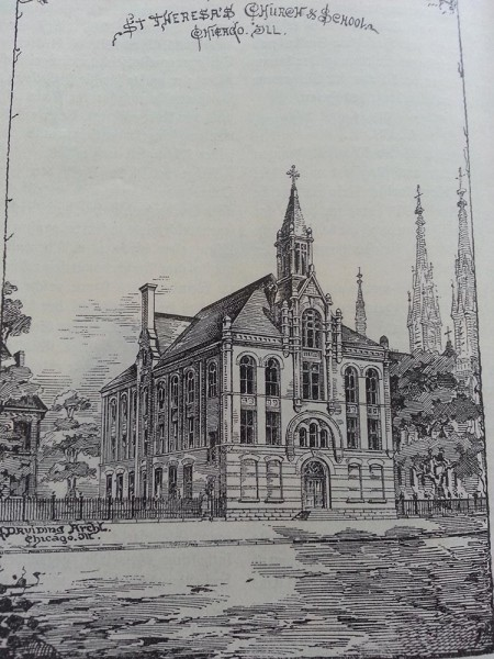 Drawing of original church, 1889, from German book about St Teresa Parish