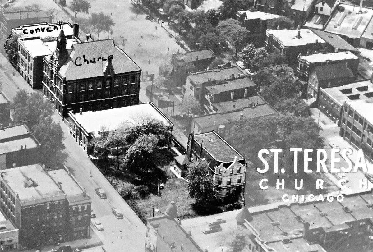 St Teresa Parish Chicago 1920 Prefire Buildings aerial view