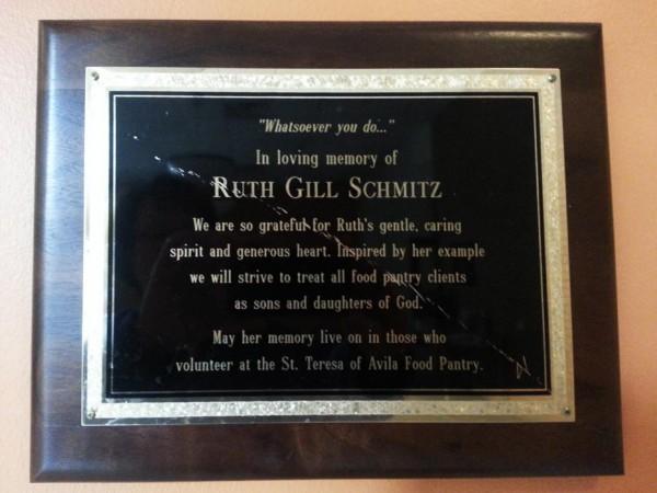Dedication plaque for Ruth Gill Schmitz